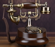 Fashion antique solid wood rotating vintage old fashioned wired landline telephone(China)