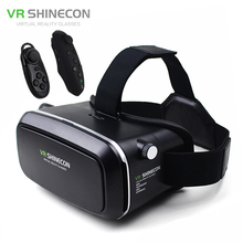 "VR Shinecon Virtual Reality 3D Glasses Helmet VR Box Cardboard for 4.7-6"" Smartphone 3D Movie Game+Bluetooth Controller/Gamepad(China)"