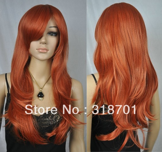 New Beautiful Long Wavy hair wig Light Auburn/Red Anime Cosplay Costume Wig (Free Shipping)<br><br>Aliexpress