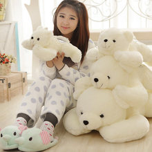 Super cute cartoon soft pretty cute white polar bear plush pillow animal doll sweet stuffed toy baby birthday christmas gift 1pc