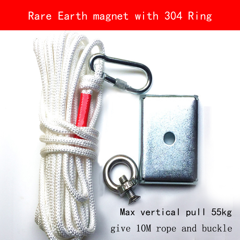 76*56*16mm salvage max pull 55KG N52 Super strong rare earth Magnet 304 stainless steel ring and 10M rope and buckle<br>