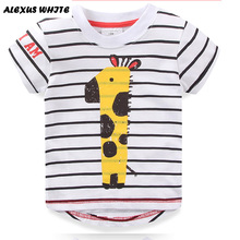 2017 Brand T-shirts Summer Baby Dog Boys Clothes T Shirt Pure Cotton Fire Truck Giraffe Tee Tops Wholesale 6pcs/lot 18M-6Y Kids