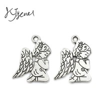 KJjewel Tibetan Silver Plated Fairy Angel Charms Pendants fit Bracelet Necklace Jewelry DIY Findings Making Accessories 23x16mm