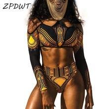 c96b9466278d8 ZPDWT New High Waist Swimsuit Two Piece Bathing Suit Women African Print  Long Sleeves Swimwear Cut Out Beach Tribal Swim Wear
