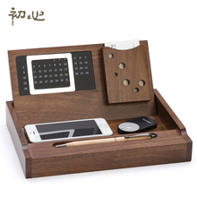 Luxury Office Storage Box Wooden Desktop Stationery box Maple Organizer with Calendar Pen Loop Name Card Holder(China)