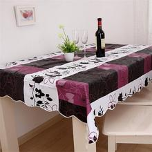 140*180cm Flannel-Backed Wipe Clean PVC Vinyl Tablecloth Dining Kitchen Table Cover(China)