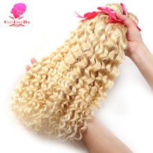 QUEEN BEAUTY HAIR 613 Blonde Bundles Brazilian Curly Weave Human Hair Extensions 12inch To 30inch Remy Hair Weft Free Shipping(China)