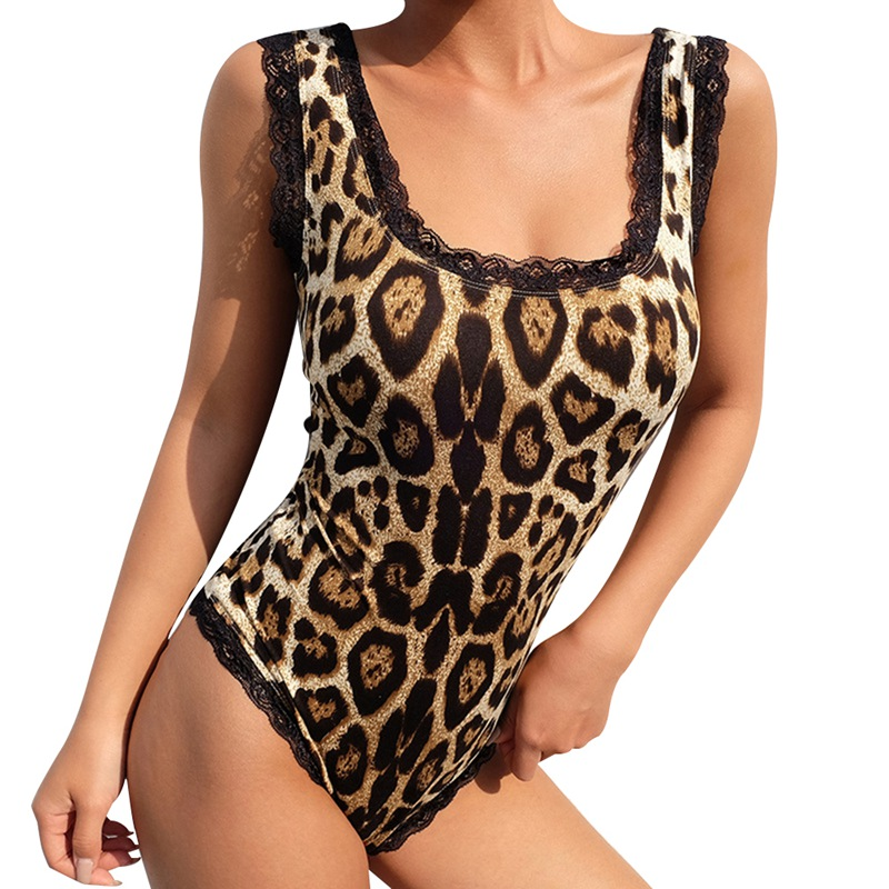 Sexy Sleeveless  Lace Up Backless Bodysuit Ladies Leopard Print O Neck Bodysuit Lace Patchwork Playsuit Jumpsuit