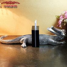 2016 Home Decoration Accessories Resin Craft Ornaments Electroplating Crocodile Furnishing Bookend Study The Living Room Decor(China)