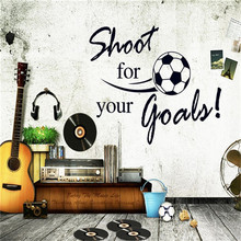 Fashion Removable Shoot For Your Goals Soccer Wall Stickers Decals Children Room Decoration Sticker DIY Home Decor HF65