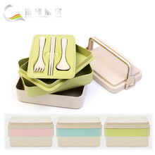 Free Reusable Lunch Bento Box with Cutlery Food Storage Canteen Fashion Style wheat straw Lunch Boxs 3 Colors Option fork Knife