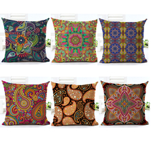 Paisley Cushion Cover Bohemian Style Pillow Cover Cotton Linen Square Cushion Cover for Sofa Home Decorative Throw Pillows Cover(China)