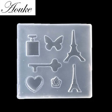 Aouke 1PC Key,Towel,Butterfly,Love, Botthle Shape Handmade Silicone Epoxy Molds,DIY Paste Silicone Tools Soap Molds Q054