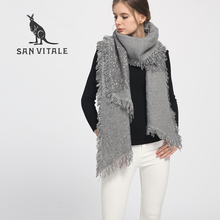 SAN VITALE Womens Shawls Winter Warm Scarf Luxury Brand Soft Fashion Thicken Plaid Wraps Wool Cashmere Capes Clothes for Women(China)