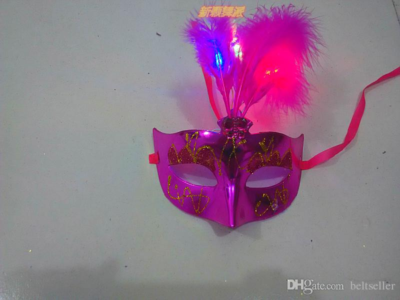 2015 New LED Glowing Party Mask Birthday Halloween Princess Feather Mask PVC Masquerade Venetian Masks Girls halloween mask halloween props