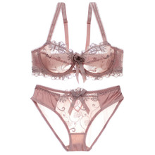 Buy Embroidery Transparent Bra Set Women Underwear Ultra-thin Push Bra Brief Set Sexy Lace Bowknot Bra Panty Lingerie Set