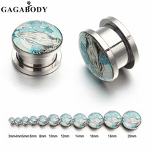 GAGA 3mm~20mm Punk Stainless Steel Light Blue Hands&Cross Screw Tunnel Plug Ear Expander Stretcher Piercing Gauge