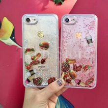 Pizza Hamburgers Chocolate Coffee Glitter Liquid Dynamic 2 in 1 Soft TPU Side Case Cover For iPhone 8 6 6S 7 Plus