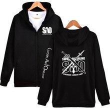 Cremallera con capucha espada arte en línea Otoño Invierno Sudaderas anime  cos ropa sudadera polar hombres mujeres SAO hip hop x. 2b3b0ccaf8c