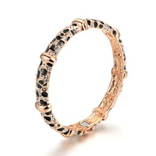 Top Quality Luxury Rhinestone Leopard Bracelet & Bangle Rose Gold Color Fashion Jewelry For Women(China)