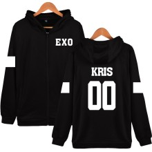 New Hot KRIS 00 Design Hoodies Women Hip Hop With Zipper EXO Fashion Black  Cotton Long Sleeve Womens Winter Jackets And Coats