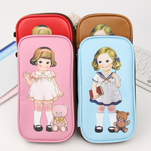 1 PC Cartoon Retro Doll Pencil Cases Office School Supplies Simple Leather Creative Bag Storage