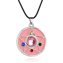 Hot Jewelry Animation Sailor Moon Necklace Pentagram Pentacle Pendant Pink Quartz Crystal Mini Charm Jewelry For Girl Xmas Gifts