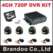 Mini 720P 4channel mobile car DVR + 4pcs mini AHD dome camera for truck bus tank taxi use(China)