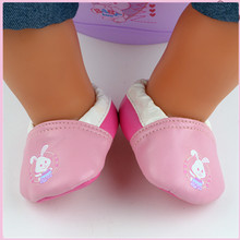 New Rabbit Pink Leather Shoes Wear fit 43cm Baby Born zapf, Children best Birthday Gift