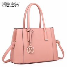 Miss Lulu Women Shoulder Handbags Top-handle Bags Multi Compartments Pink Tote Bag PU Leather Cross Body Messenger Bags LT1748