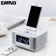 K5 Dock Station LCD Alarm Clock Stereo 2.0 Subwoofer Music Bluetooth Speaker Support AUX Dual USB Handsfree Snooze Mute FM Radio