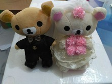 wedding dress Rilakkuma bear design a pair plush about 20cm doll wedding car decoration gift w2878(China)