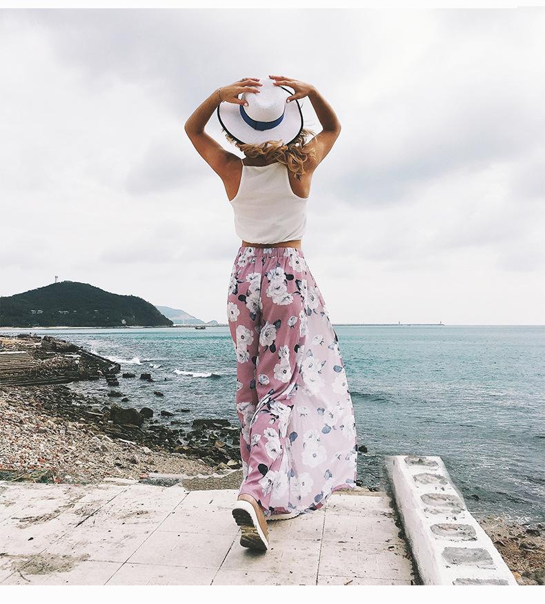 2018 Women Pants Beach Floral Print High Waist Plus Size Loose Chiffon Casual Wide Leg Pants Pink Split Sexy Women Trousers Sale 12