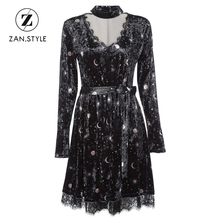 ZAN.STYLE Choker Spliced Lace Belted Moon Star Print Women Velour Dress Sexy V Neck Long Sleeve Spring Autumn Girl A Line Dress(China)