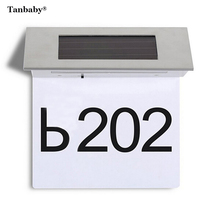 Tanbaby 4 LED White Solar Powered Door Number Light LED Illuminated Sign House Hotel Door Address Plaque Number Digits Plate