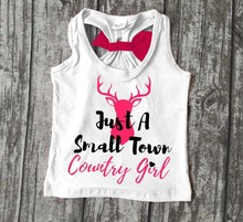summer baby girls clothing just a small town country girl cotton soft deer bow icing top shirts raglans boutique tank kids wear