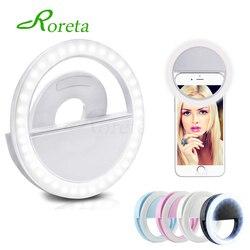 Roreta USB зарядка 36 светодиодный лампы selfie Light для Iphone освещение ночной темноте съемка селфи кольцо света для всех смартфонов