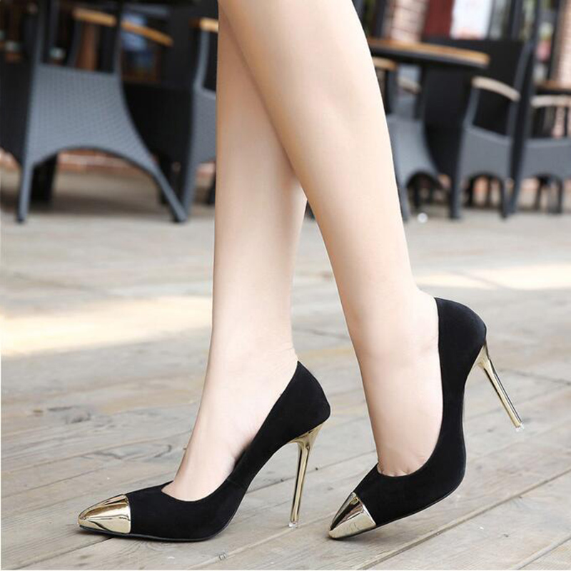 2017 Fall New Flock Pumps For Women Pointed Metal Head High-heeled Shoes Black Red Sexy Women Thin High Heels Wedding Shoes XP35<br><br>Aliexpress