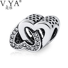 V.YA Double Hearts Beads Fit for Pandora Bracelets Fashion Crystal DIY Charms fit Original Accessories Jewelry Making Wholesales