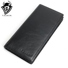 Genuine Leather Men's Wallet Long Design Multifunctional Men Purse Black Billfold Card Holders For Men Solid Pocket Cow Leather(China)