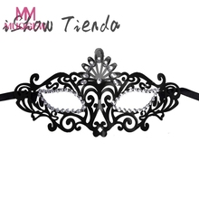 Girls Woman Fashion 4 Colors Hollow Out Venetian Mask Lace Sexy Face Mask Princess Dance Prom Party Halloween Masquerade Masks(China)