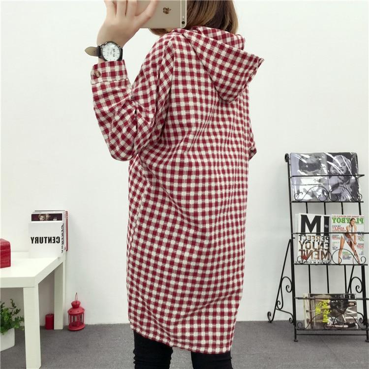 Brand Yan Qing Huan 2018 Spring Long Paragraph Large Size Plaid Shirt Fashion New Women's Casual Loose Long-sleeved Blouse Shirt 13 Online shopping Bangladesh