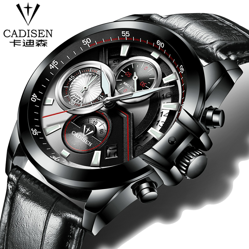 Mens Sports Quartz Watches Mens Top Brand CADISEN Luxury Leather Wristwatches Relogio Men Watches All-steel luminous watches<br>