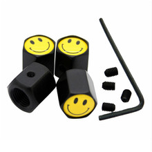 4Pcs/Lot Anti-theft Style Black Sliver  Smile Logo Car Badge Wheel Tire Valve Cap Tyre Dust Caps For Car