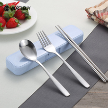 WORTHBUY Hot Sale Creative Chinese Stainless Steel Tableware Set Portable Travel Picnic Dinnerware Set For Kids School Gifts