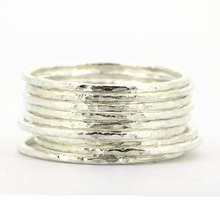 Lotsale 9pieces Solid Sterling Silver Hammered Stack Ring(China)