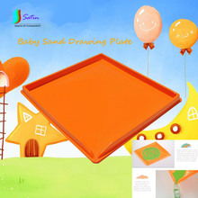 New Orange Plastic Baby Sand Drawing Plate,Child DIY Sand Painting Board Tool S0135H