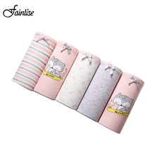 Buy Fainlise Cotton Women Panty Lot 5PCS/4PCS/Lot Cartoon Printed Women Sexy Underwear Breifs Comfort Mid Rise Women Intimisi