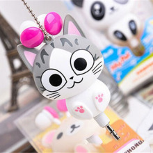 Cute Kawaii Cheese Cat bear Panda Cartoon Retractable MP3 MP4 Earphone for Samsung HTC Xiaomi for IPhone 5 5s 6 6s plus
