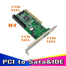 New High Quality 3 ports SATA + IDE Serial HDD ATA PCI Card Converter Adapter for PC Tablet Computer 1.5Gb/s Data Rate